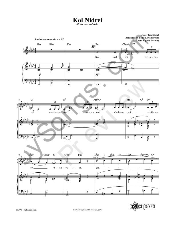 All Music Chords kol nidrei cello sheet music : oySongs.com - Jewish music